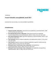 Tiedoteliite: Uutuusjäätelöiden pakkauskoot ja kuluttajasuositushinnat
