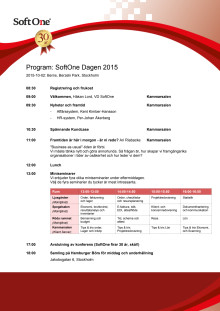 Program: SoftOne Dagen 2015