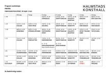 Program för workshops för Frispel på Halmstads Konsthall