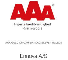 Ennova får tildelt AAA Guld-diplomet