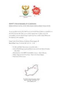 Inbjudan: SHIFT: WDC/MDG Briefing @ Sydafrikanska Ambassaden, Stockholm