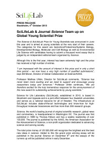 SciLifeLab & Journal Science Team up on Global Young Scientist Prize