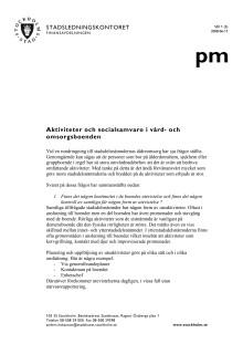 Aktiviteter på äldreboenden i Stockholms stad - en sammanställning