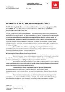 Tikkurilan Pintakäsittelyn ROI -barometri kiinteistöpäättäjille 2016