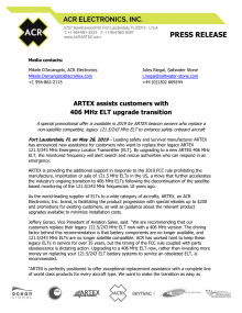 ARTEX assists customers with  406 MHz ELT upgrade transition
