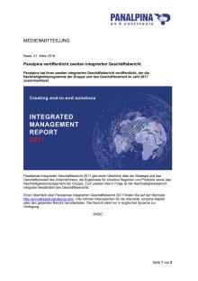 Panalpina veröffentlicht zweiten integrierten Geschäftsbericht