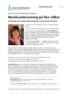 """Inbjudan """"Musikundervisning på lika villkor"""" 16-18/6 2011"""
