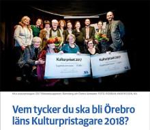 NA efterlyser förslag på Örebro läns kulturpristagare 2018