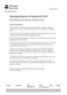 Öppningsanförande av Meeri Wasberg (S) vid ResearchEd 2019