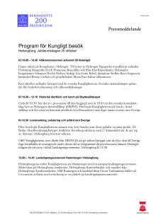 Program för Kungligt besök, Jubileumsdagen Helsingborg 20 oktober