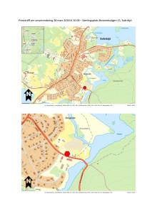 Kartor som visar var pressträffen kommer äga rum