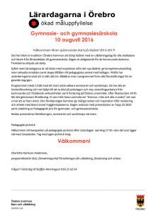 Gymnasiets program - Lärardagen i Örebro 10 augusti 2016