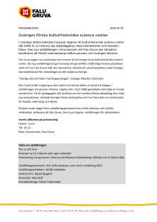 Pressinbjudan - Sveriges första kulturhistoriska science center