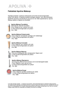 Faktablad Apoteket Apoliva Makeup