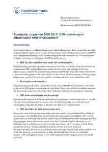 Remissvar angående SOU 2017:13 Finansiering av infrastruktur med privat kapital?