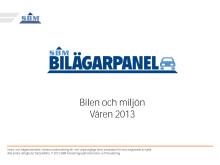 SBM Bilägarpanel - Bilen och Miljön, Våren 2013
