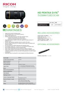Pentax DFA 70-200mm F/2,8. datablad