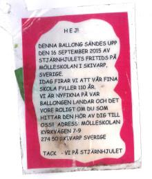 Mölleskolans ballongfärd Småland tur & retur