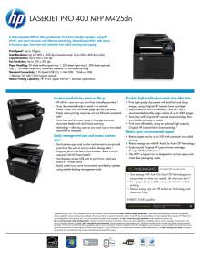HP LaserJet Pro 400 M425 dataark