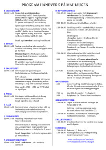 Program for Håndverk på Maihaugen 2016