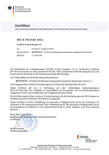 BSI-Zertifikat procilon TR-ESOR proNEXT Archive Manager