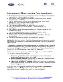 Ændringer i Ford Motor Companys ledelse