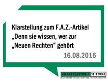 """Klarstellung zum F.A.Z.-Artikel """"Denn sie wissen, wer zur """"Neuen Rechten"""" gehört"""