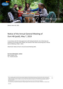 Notice of the Annual General Meeting of  Duni AB (publ), May 7, 2019
