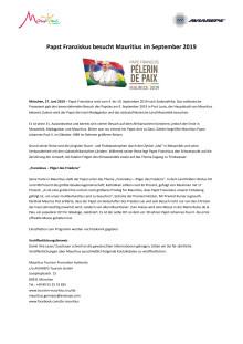 Pressemitteilung_Papst Franziskus besucht Mauritius im September 2019