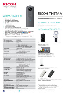 Ricoh Theta V, specifikation sheet