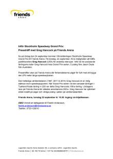Inför Stockholm Speedway Grand Prix:  Pressträff med Greg Hancock på Friends Arena