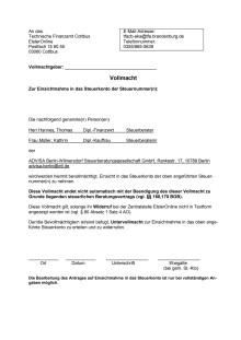 ADVISA - Vollmacht Steuerkonto online (Brandenburg)
