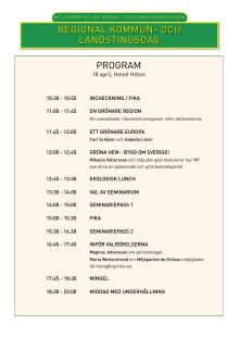 Program: Miljöpartiets regionala kommun- och landstingsdag 18 april
