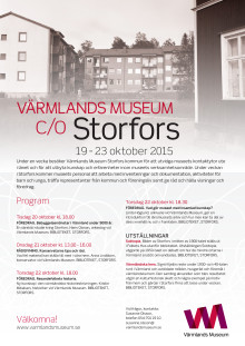 Program Värmlands Museum c/o Storfors vecka 43, 2015
