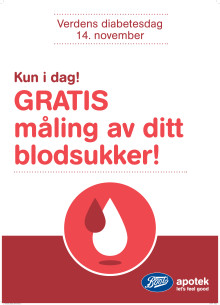 Gratis blodsukkermåling i alle Boots apotek - fredag 14. november 2014