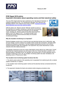 IFHE Digest 2019 article: Important information about operating rooms and their electrical safety