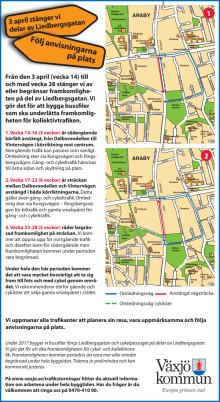 Omledning vid vägarbeten på Liedbergsgatan
