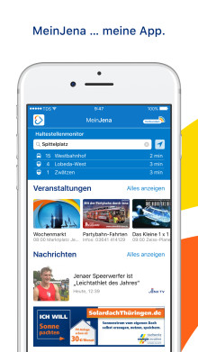 """""""MeinJena"""" - Eine Stadt. Eine App. Einwandfrei informiert."""