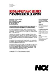 Pressmaterial Elektra på NorrlandsOperan