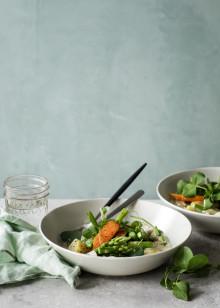 Opskrift: Forårsfrikassé med kylling og asparges