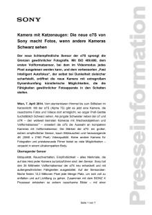 """Pressemitteilung """"Kamera mit Katzenaugen: Die neue α7S von Sony macht Fotos, wenn andere Kameras Schwarz sehen"""""""