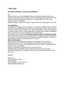 Important: Press accreditation for EU count Moray