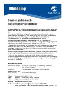 Inbjudan utbildning DS autism Ågrenska okt 2019
