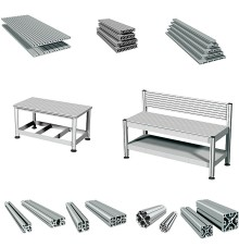 Aluminiumprofiler för snabb och enkel uppbyggnad