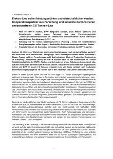 """Pressemitteilung PEM der RWTH Aachen: """"Elektro-Lkw sollen leistungsstärker und wirtschaftlicher werden: Kooperationspartner aus Forschung und Industrie demonstrieren emissionsfreien 7,5 Tonnen-Lkw"""""""