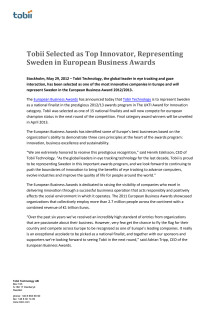 Tobii Selected as Top Innovator, Representing Sweden in European Business Awards