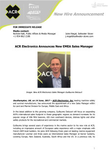 ACR Electronics Announces New EMEA Sales Manager