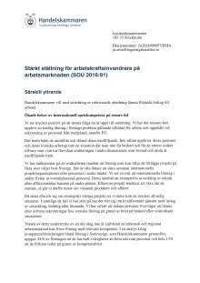 Remissvar SOU 2016:91 Stärkt ställning för arbetskraftsinvandrare på arbetsmarknaden