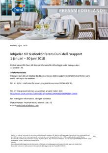 Inbjudan till telefonkonferens Duni delårsrapport  1 januari – 30 juni 2018