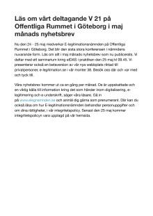 Läs om vårt deltagande V 21 på Offentliga Rummet i Göteborg i maj månads nyhetsbrev